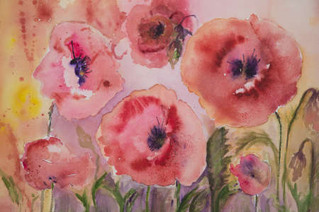 poppies: Naive poppies with yellow and pink background Stock Photo