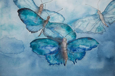 aquarel: Flying blue butterflies in the sky