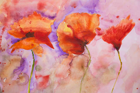 poppies: Psychedelic splashed poppies