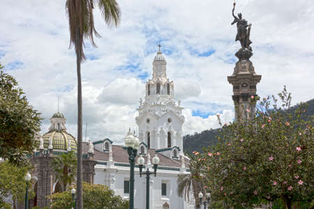 The metropolitan cathedral of Quito seen from the Independence Square