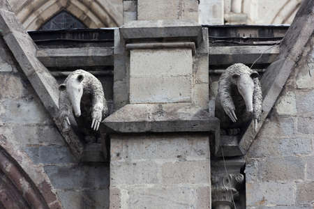 nacional: Pair of anteater gargoyles on the Basilica del Voto Nacional Stock Photo