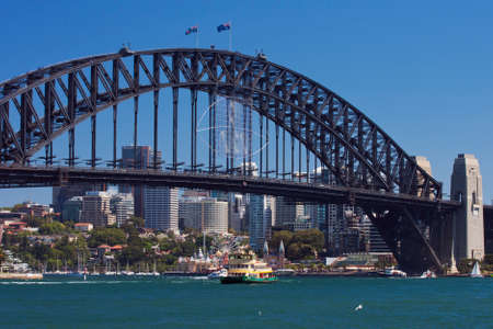 cahill: Lavender Bay and Sydney Harbour Bridge seen from the Opera House Editorial