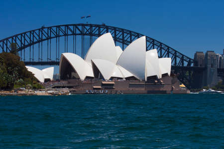 cahill: Zoom of the Opera House and the Harbour Bridge from Mrs. Macquairies Point
