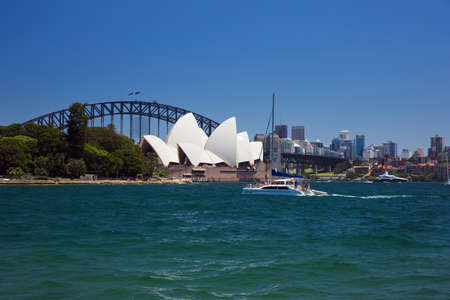 cahill: The Opera House and the Harbour Bridge from Mrs. Macquairies Point