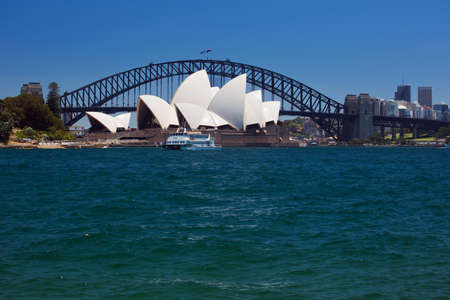 port jackson: The Opera House under the Harbour Bridge from Mrs. Macquairies Point Editorial