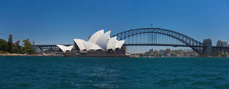cahill: Panorama of the Opera House and the Harbour Bridge from Mrs. Macquairies Point