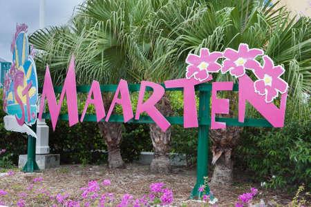 saint martin: Welcome to Saint Martin Stock Photo