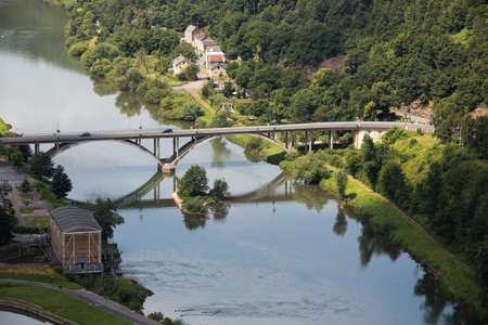 tout: Bridge over the Meuse seen from the Mont Malgr Tout Stock Photo