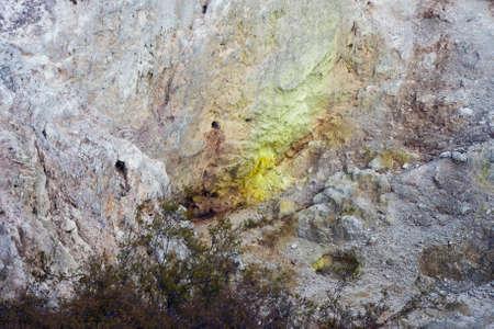 the deposits: Sulphur deposits in the Birds Nest Crater