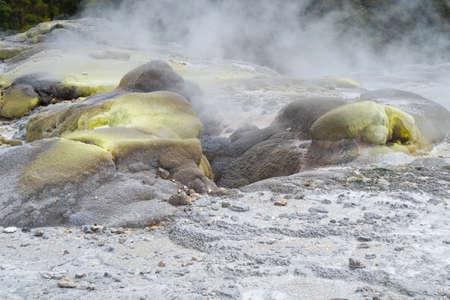 Sulphur deposits around volcanic steam vents