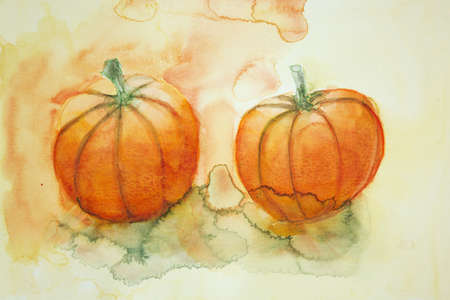 altered: two pumpkins with yellow and orange background. The dabbing technique gives a soft focus effect due to the altered surface roughness of the paper.
