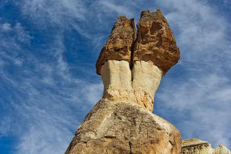 troglodyte: Mushroom shaped rocks in Pasabag Stock Photo