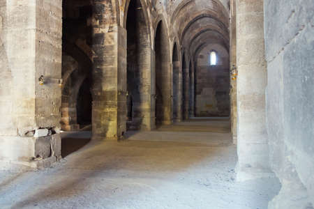 seljuk: Covered courtyard inside the caravanserai Stock Photo