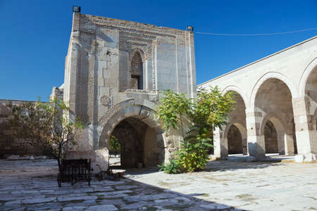 seljuk: Open courtyard and the stone kiosk-mosque inside the caravanserai