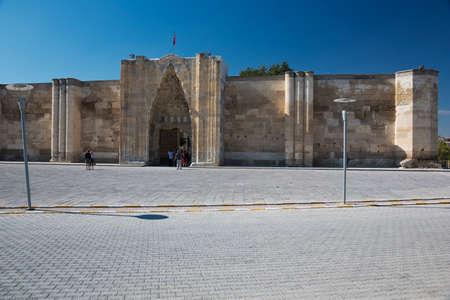 seljuk: Frontal view of the caravanserai in Sultan Han Stock Photo