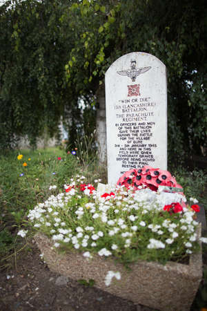 battalion: Stone in memory of the 13th Lancashire Battalion, Bure Editorial