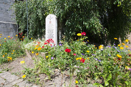 battalion: Flowers around the stone in memory of the 13th Lancashire Battalion, Bure Editorial