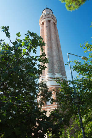 fluted: At the base of the Fluted Minaret Stock Photo