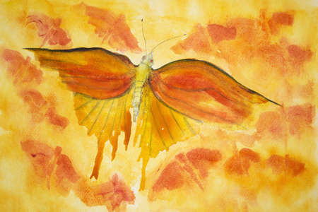 phantasy: Orange butterfly on a yellow orange background. The dabbing technique gives a soft focus effect due to the altered surface roughness of the paper. Stock Photo