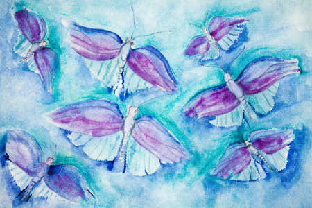 altered: Flying butterflies on a turquoise background. The dabbing technique gives a soft focus effect due to the altered surface roughness of the paper. Stock Photo