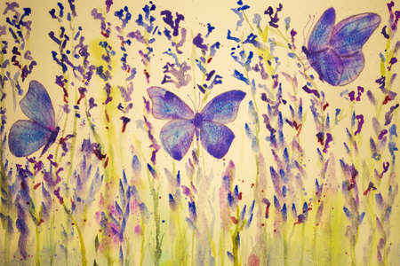 altered: Field of lavender with butterflies. The dabbing technique gives a soft focus effect due to the altered surface roughness of the paper. Stock Photo
