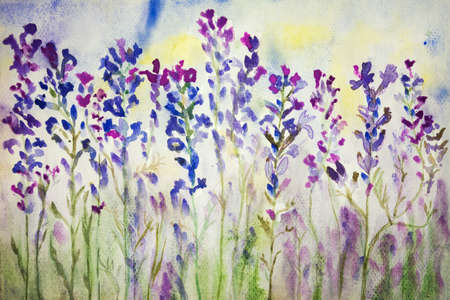 Lavender in the field. The dabbing technique gives a soft focus effect due to the altered surface roughness of the paper.