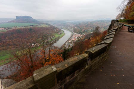 saxon: Lilienstein with the Elbe seen from the Konigstein Fortress Stock Photo