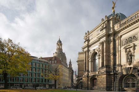 frauenkirche: The Frauenkirche and the Academy of Fine Arts in Dresden