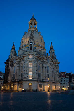 the frauenkirche: Neumarkt with Frauenkirche in Dresden at nightfall