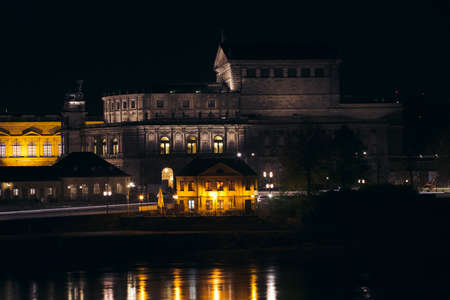 oper: The Dresden Opera House by night