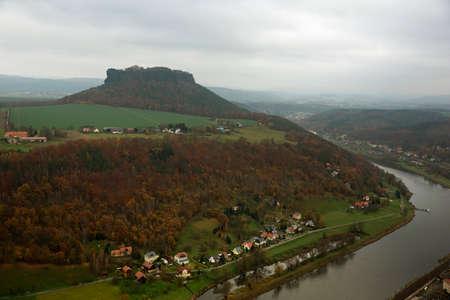 sen: Lilienstein sen fron the Konigstein Fortress Stock Photo