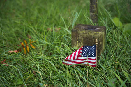 bulge: Close up of a name tag or an American veteran in the Wood of Peace Stock Photo