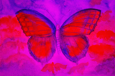 altered: Butterfly in a strange colored world. The dabbing technique gives a soft focus effect due to the altered surface roughness of the paper.
