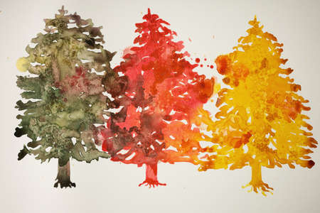 hand work: Three different colored christmas trees. The dabbing technique gives a soft focus effect due to the altered surface roughness of the paper.