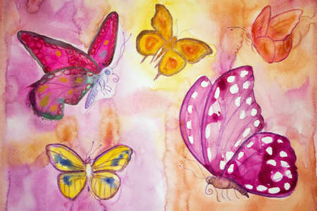 Five different butterflies in a phantasy world. The dabbing technique gives a soft focus effect due to the altered surface roughness of the paper. Standard-Bild