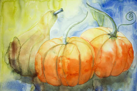 altered: Two pumpkins and a squash. The dabbing technique gives a soft focus effect due to the altered surface roughness of the paper. Stock Photo