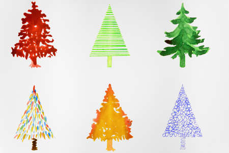 altered: Six colorful christmas trees. The dabbing technique gives a soft focus effect due to the altered surface roughness of the paper.