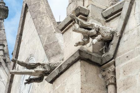 gargoyles: Pair of crocodile gargoyles on the Basilica del Voto Nacional. The right crocodile clearly shows the damage to the ornaments