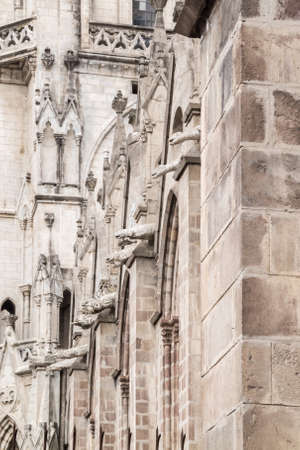 nacional: Side wall of the Basilica del Voto Nacional showing animals serving as gargoyles Stock Photo
