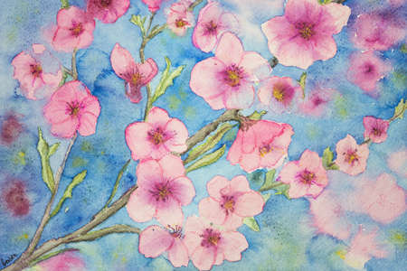 altered: Cherry blossoms against a blue sky background. The dabbing technique gives a soft focus effect due to the altered surface roughness of the paper.