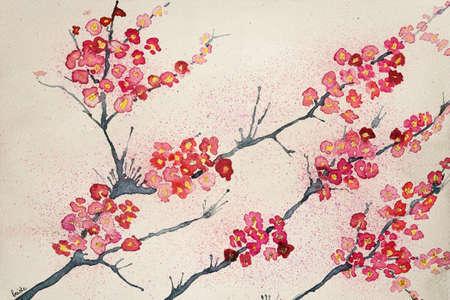 fleur cerisier: Fleurs de cerisier sur fond teinté. La technique de tamponnage donne un effet de flou dû à la rugosité de surface modifiée du papier.