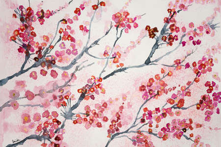 altered: Branches of cherry blossoms. The dabbing technique gives a soft focus effect due to the altered surface roughness of the paper.