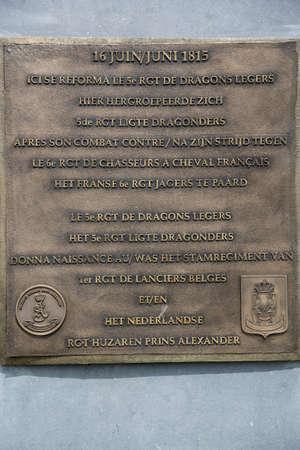 orange nassau: Bronze plaque at the monument for the Dutch cavalry