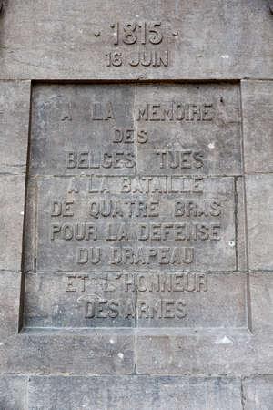 Detail of the monument to the Belgians at Quatre Bras Reklamní fotografie