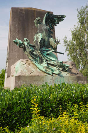 orange nassau: Close view of the wounded eagle monument