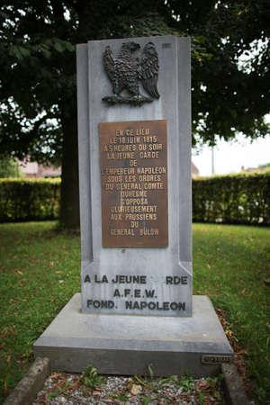 orange nassau: Stone in memory of Napoleons Young Guard Stock Photo