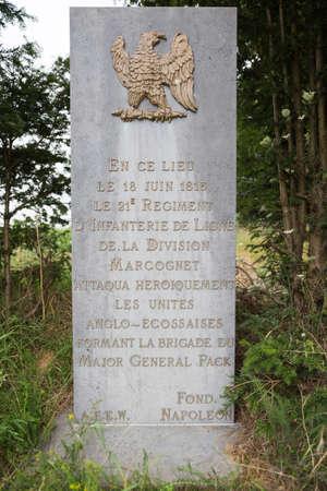 orange nassau: Commemorative stone near the Papelotte farm