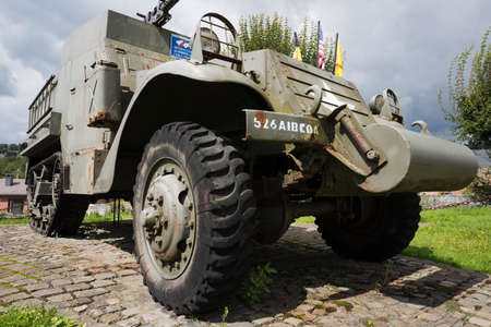 bulge: M3 Half-track in Stavelot seen from a low view point