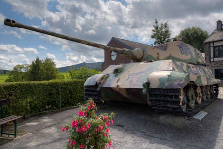 Frontal view of a German Tiger tank in La Gleize