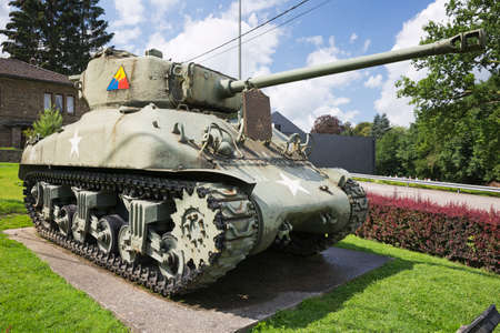 armoured: Right view of the Sherman tank from the 7th Armoured Division Stock Photo